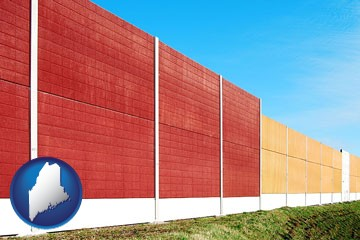 a highway noise barrier - with Maine icon