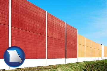 a highway noise barrier - with Missouri icon